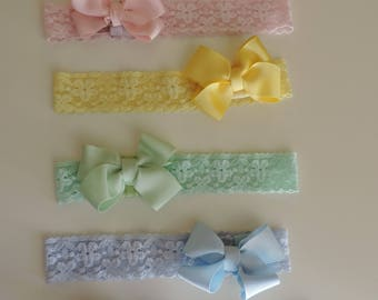 Baby headband and bow, Elastic lace headband with 2.5 cm ribbon bow