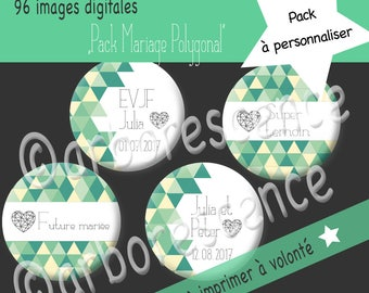 """Pack Mariage """"Vintage Polygonal"""" - 96 Images digitales à imprimer à volonté- Pour cabochon, badge, bijoux"""