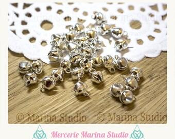 20 mini bells 6mm silver color