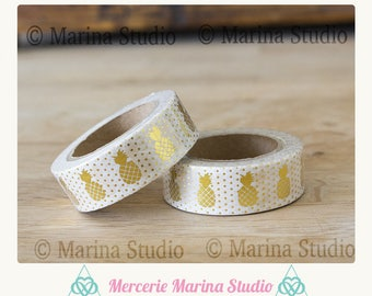 Real Washi tape gold gilt pineapple 10 M rice paper