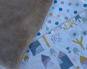 Cabin and polka dots Scandinavian design cotton and minky baby blanket