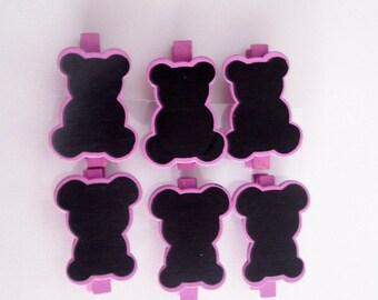 holders, set of 6 charcoal bears and purple wood mounted on purple wooden clothespin