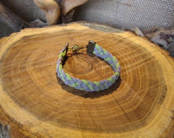 5 strands of gray and light green suede braided bracelet