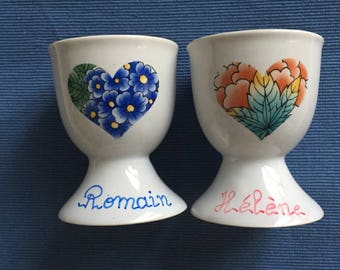 "Duo names deco ""heart-""red flowers and blue egg cups"
