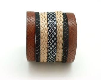 Wide magnetic Cuff Bracelet magnetic 60 mm BOHO / by KUMKA