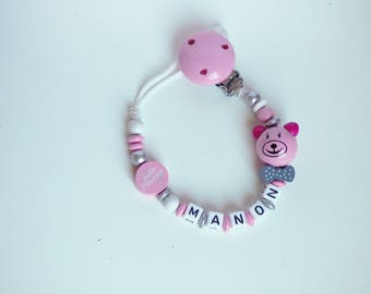 personalized girl Teddy bear pacifier clip