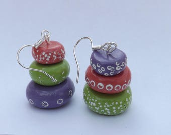 "Earrings ""Vibrant pellets"" - polymer clay."