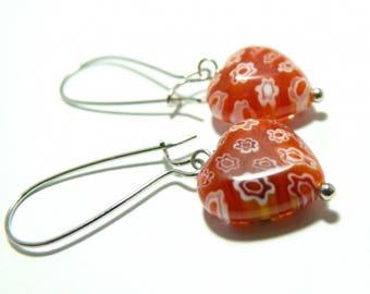 Glass millflori GM heart earring