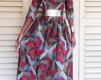 Maxi cotton dress printed wax