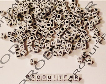 Set of 300 beads letters Cube acrylic Alphabet size 6 mm black and white necklace jewelry pendant