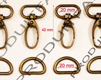 4 + 4 rings for 20 MM Maxi tote bag straps Bronze lobster clasps.