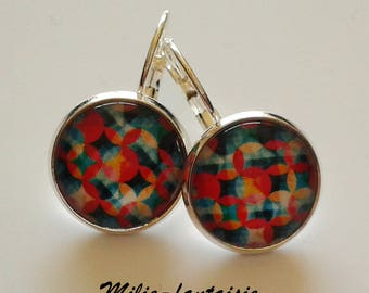 Lever back earrings silver multicolor seventies glass cabochon