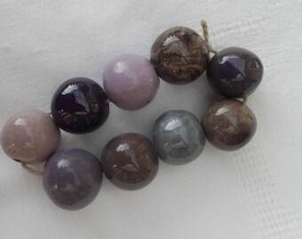 ceramic beads chestnut, purple, and gray