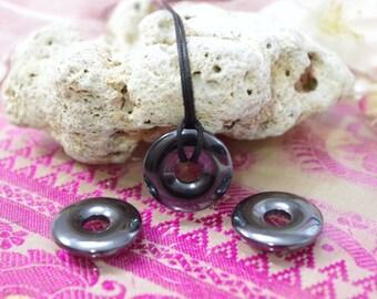 Pendant natural stone Hematite donuts