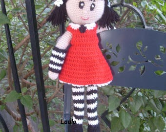 crocheted in red and Black wool doll