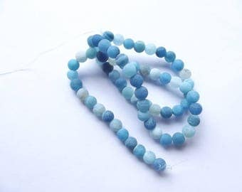 agate frosted Blue 6 mm HOUND-267 65 beads