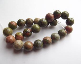 23 round beads smooth unakite natural 8 mm 108 KIZI