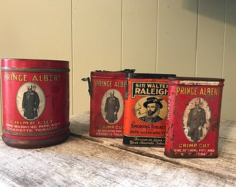 Vintage Tobacco Tins, gifts for him, gifts for her, tobacco collector