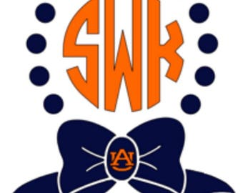 Monogram decal. Preppy bow collegiate decal. 2 color decal.