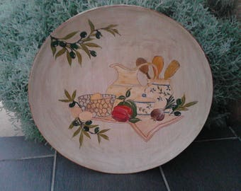 Decorative painting on wooden plate