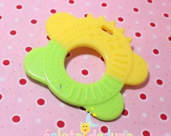 Green and yellow soft plush animal shape teething item