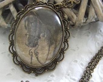 """Great necklace Medallion """"Horse Portrait"""""""
