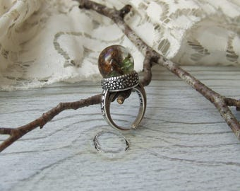 Nature ring * Woods * ball resin inclusion of Silver Flower - handmade