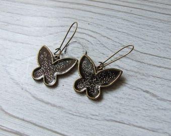 "Earrings ""midnight butterflies"" enameled black hand made"