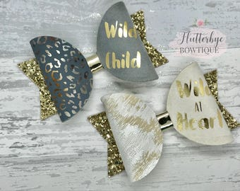 Wild child hair bow, small animal print bow, wild at heart, gold glitter clip, baby headband, birthday gift, personalised gift,