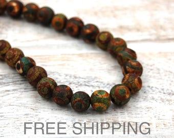 Tibetan Dzi Agate Beads, 10mm FREE SHIPPING -14.5 inch strand