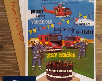 4 firemen firefighters light the candles joke birthday card mean paperstorm