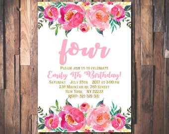Floral 4th Birthday Invitation Girl, Any Age Floral Pink Gold Fourth Birthday Invitation, Girl 1st ONE Birthday 1008