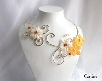 Alix - Bridal necklace ivory Golden Orange silk flowers