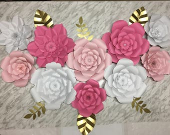 Large Paper Flowers - Set of 10
