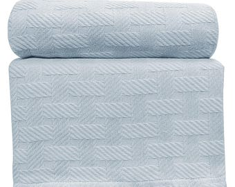 "Cotton Blanket - Super Soft - Lightweight - All Seasons - 100% Cotton - Baby Blue - Basket Weave - Blanket/Throw King 90""x108"