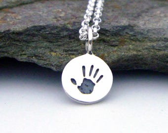 Baby Hand Print Necklace - 925 Sterling Silver Hand Print Charm Jewelry - Handprint Pendant - Gift for Mom Baby Handprint Necklace