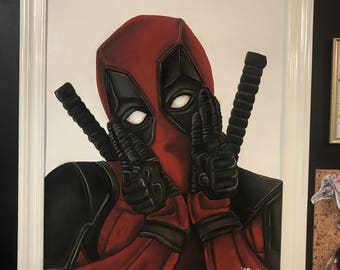 Deapool (Ryan Reynolds)  large hand drawn and hand painted.