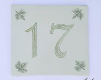 Front stoneware number 17 door plaque decor leaves Ivy