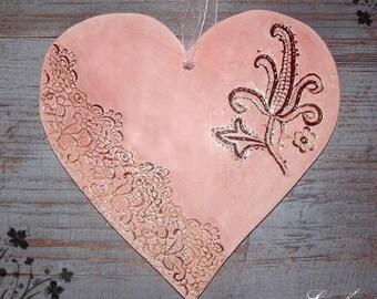Large heart lace to hang, weathered Brown and pink prints with lace and guipure