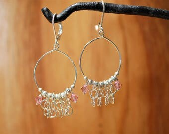 Hooped Hearts & Pink Crystals Sterling Silver Earrings