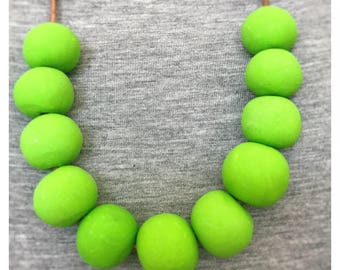 Neon Green Beaded Polymer Clay Necklace