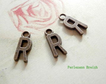 "10 charms letter ""R"" 16x5mm bronze metal"