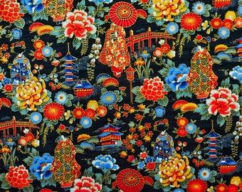Fabric pattern Maiko, Geisha, Japanese fabric, black, the Japan fabrics, 50x50cm TU124 coupon