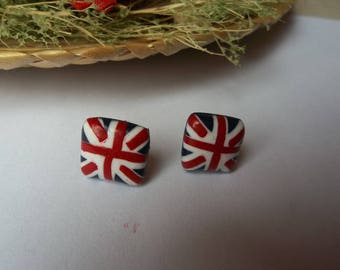 English flag in polymer clay ear studs