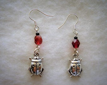Dangle earrings lucky Tibetan silver Ladybug and Pearl Bohemian Red