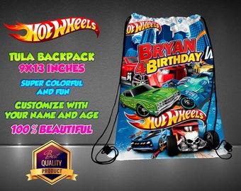 Hot Wheels  Boy Personalized Drawstring Backpack - Kids Personalized Gift Handbag Hot Wheels Backpack Bag Canvas Handbag Hip Bag Handbag