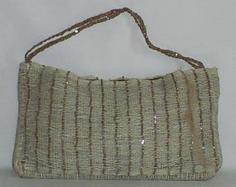 Bag in woven linen and sequins