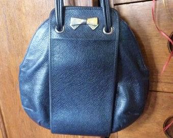 Nina Ricci vintage bag * 29 cm * Navy blue leather