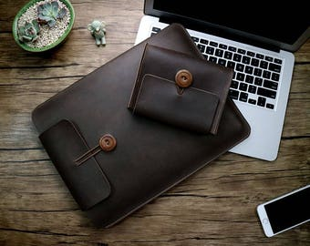 handmade sleeve macbook pro 13 case Genuine Leather bag for new 2016 macbook air 11.6 12 13.3 retina pro 15.4 inch laptop with Charger pouch