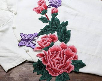 Sew-on Plum Blossom Embroidered Appliques,Butterfly Embroidered Flowers,Patches For Dress Supplies